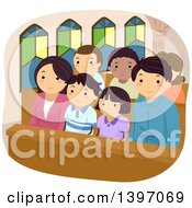 Clipart Of A Happy Family At Church Together Royalty Free Vector Illustration