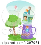 Clipart Of A Family In A Garden Pot House Royalty Free Vector Illustration