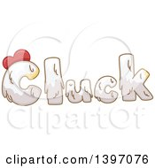 Clipart Of A Farm Animal Sound Of Cluck With Chicken Feathers Royalty Free Vector Illustration