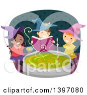 Clipart Of A Group Of Witch Girls Casting A Spell Royalty Free Vector Illustration by BNP Design Studio