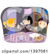 Clipart Of A Group Of Children Reading A Spell Book Royalty Free Vector Illustration by BNP Design Studio