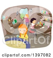Clipart Of A Group Of Children Making A Magic Potion Royalty Free Vector Illustration by BNP Design Studio