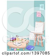 Clipart Of A Sketched Art Room Interior Royalty Free Vector Illustration