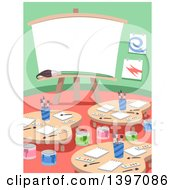 Clipart Of An Art Class Room Interior Royalty Free Vector Illustration