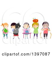 Clipart Of A Group Of Girls With Sewing Accessories Royalty Free Vector Illustration by BNP Design Studio