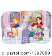 Clipart Of A Group Of Women In A Sewing Class Royalty Free Vector Illustration