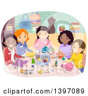 Clipart Of A Group Of Women In A Sewing Club Royalty Free Vector Illustration by BNP Design Studio
