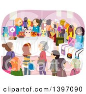 Clipart Of A Busy Sewing Expo Royalty Free Vector Illustration