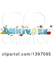 Clipart Of A Blue Word Omnivore With Fish Meat Eggs Plants And Fruit Royalty Free Vector Illustration