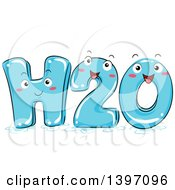Clipart Of A Happy H2o Water Character Royalty Free Vector Illustration