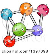 Clipart Of A Group Of Happy Colorful Atoms Royalty Free Vector Illustration by BNP Design Studio