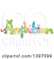 Clipart Of Colorful AMPHIBIAN Text With Animals Royalty Free Vector Illustration
