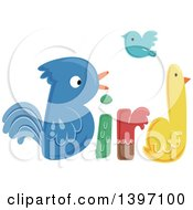 Poster, Art Print Of Colorful Bird Word With Feathered Friends