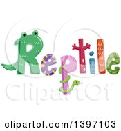 Clipart Of A Colorful Reptile Word With Critters And Patterns Royalty Free Vector Illustration by BNP Design Studio