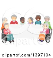 Clipart Of A Group Of Diverse Senior Citizens Around A Blank Banner Royalty Free Vector Illustration