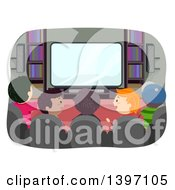 Poster, Art Print Of Rear View Of A Group Of Boys Watching Tv And Talking