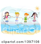 Clipart Of A Group Of Teenage Girls Holding Hands And Jumping In The Water At The Beach Royalty Free Vector Illustration