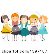 Clipart Of A Group Of Girls Wearing Vintage Clothing Royalty Free Vector Illustration