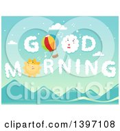 Clipart Of A Hot Air Balloon And Sun In The Sky With Good Morning Clouds Royalty Free Vector Illustration