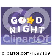 Clipart Of A Moon And Star In Good Night Clouds Royalty Free Vector Illustration