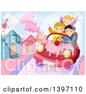 Clipart Of A Group Of Children Riding In A Candy Car Royalty Free Vector Illustration