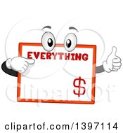 Clipart Of A Sign Mascot Pointing To Itself Royalty Free Vector Illustration