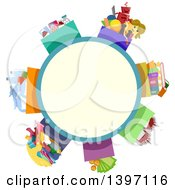 Clipart Of A Circle Label With Boxes Of Donations Royalty Free Vector Illustration