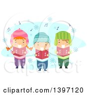 Clipart Of A Group Of Children Singing Christmas Carols Royalty Free Vector Illustration