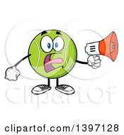 Clipart Of A Cartoon Tennis Ball Character Mascot Using A Megaphone Royalty Free Vector Illustration
