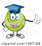 Clipart Of A Cartoon Happy Tennis Ball Character Mascot Graduate Giving A Thumb Up Royalty Free Vector Illustration by Hit Toon