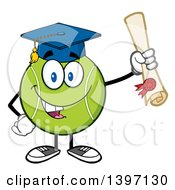 Cartoon Happy Tennis Ball Character Mascot Graduate Holding A Diploma