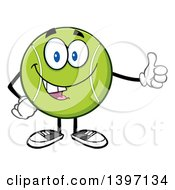 Clipart Of A Cartoon Happy Tennis Ball Character Mascot Giving A Thumb Up Royalty Free Vector Illustration by Hit Toon