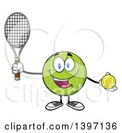 Clipart Of A Cartoon Happy Tennis Ball Character Mascot Holding A Racket And Ball Royalty Free Vector Illustration