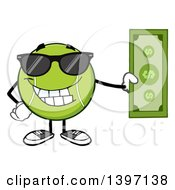 Clipart Of A Cartoon Happy Tennis Ball Character Mascot Wearing Sunglasses And Holding Cash Money Royalty Free Vector Illustration