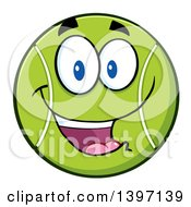 Clipart Of A Cartoon Happy Tennis Ball Character Mascot Royalty Free Vector Illustration