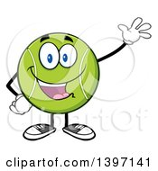 Clipart Of A Cartoon Happy Tennis Ball Character Mascot Waving Royalty Free Vector Illustration by Hit Toon