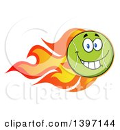 Clipart Of A Cartoon Happy Tennis Ball Character Mascot With Flames Royalty Free Vector Illustration