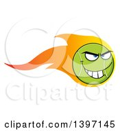 Clipart Of A Cartoon Grinning Tennis Ball Character Mascot With Flames Royalty Free Vector Illustration by Hit Toon