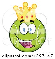 Clipart Of A Cartoon Happy Tennis Ball Character Mascot Wearing A Crown Royalty Free Vector Illustration