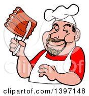 Clipart Of A Happy White Male BBQ Chef Holding Ribs With Tongs Royalty Free Vector Illustration