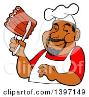 Clipart Of A Happy Black Male BBQ Chef Holding Ribs With Tongs Royalty Free Vector Illustration