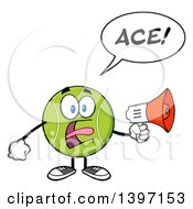 Clipart Of A Cartoon Tennis Ball Character Mascot Shouting Ace Through A Megaphone Royalty Free Vector Illustration