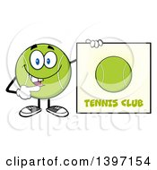 Clipart Of A Cartoon Happy Tennis Ball Character Mascot Holding A Club Sign Royalty Free Vector Illustration