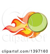 Clipart Of A Fast Flaming Tennis Ball Royalty Free Vector Illustration by Hit Toon
