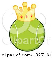 Clipart Of A Cartoon Tennis Ball Wearing A Crown Royalty Free Vector Illustration by Hit Toon