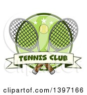 Clipart Of A Ball Over Crossed Tennis Rackets And A Green Circle With Stars And A Club Banner Royalty Free Vector Illustration