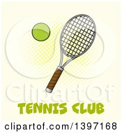 Clipart Of A Tennis Racket And Ball Over Text On Yellow Royalty Free Vector Illustration