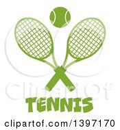 Clipart Of A Green Silhouetted Ball Over Text And Crossed Tennis Rackets Royalty Free Vector Illustration