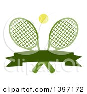 Clipart Of A Ball Over Crossed Tennis Rackets With A Blank Banner Royalty Free Vector Illustration