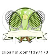 Clipart Of A Ball Over Crossed Tennis Rackets And A Green Circle With Stars And A Blank Banner Royalty Free Vector Illustration by Hit Toon